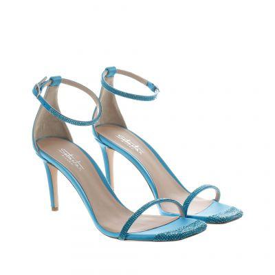 Sandalo in raso con strass