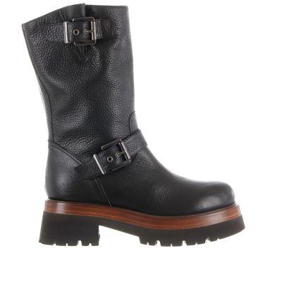 Combat boots in pelle con fondo in cuoio e gomma