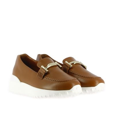 Slip on in pelle con double t e fondo gomma