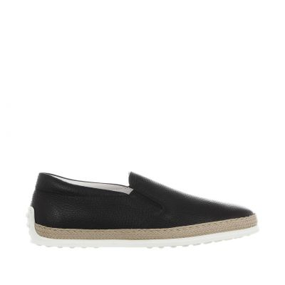 Slip on in pelle martellata con gommini e rafia