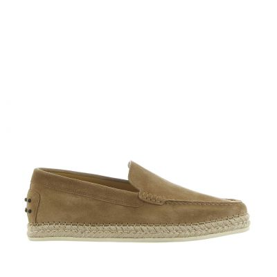 Slip on in camoscio con gommini e rafia