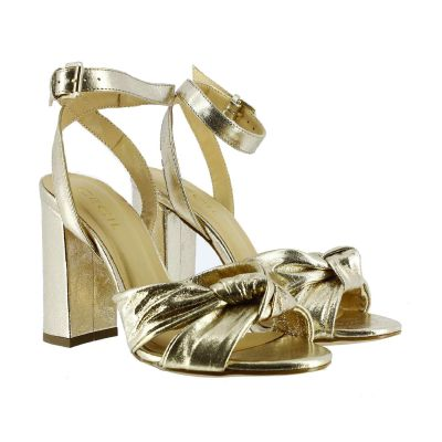 Sandalo couro in pelle metal con nodo
