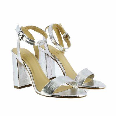 Sandalo couro in pelle metallizzata
