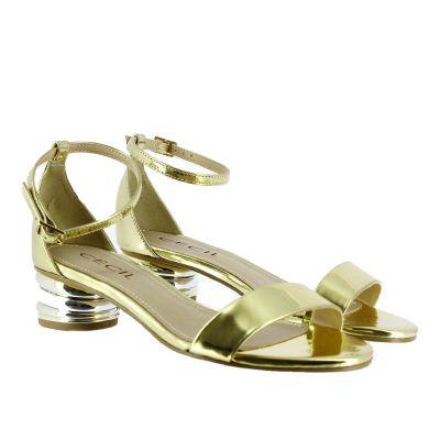 Sandalo vanuza con tacco trio metallizzato