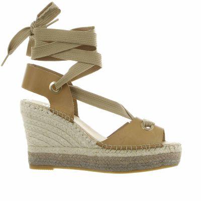 Espadrillas sandalia atados in vacchetta