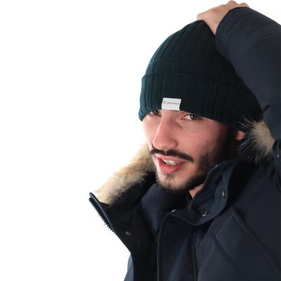 Cappello ribbed beanie in lana a costine